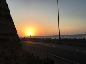 sunset ocean view on highway